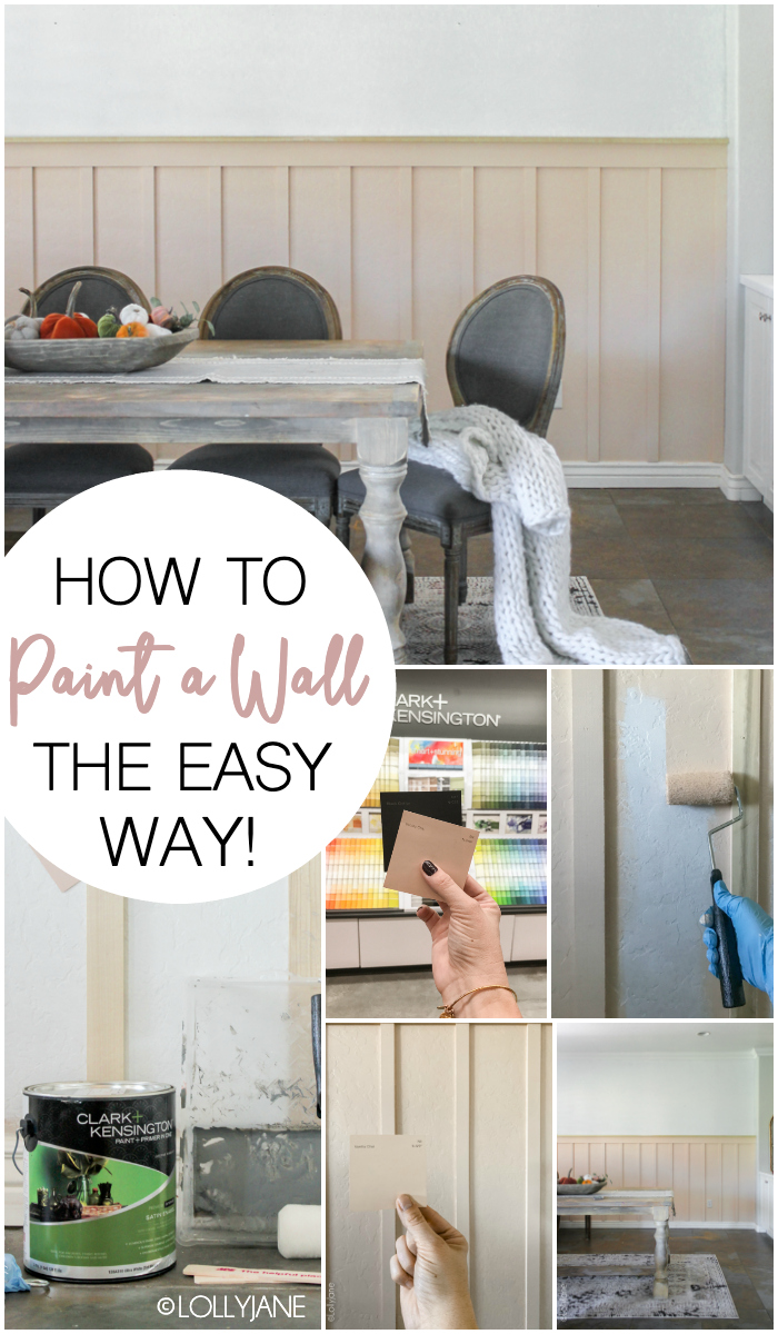 How to Paint a Wall the EASY way! #diy #boardandbatten #walltreatment #pinkwall #floralwallpaper #wallpaper