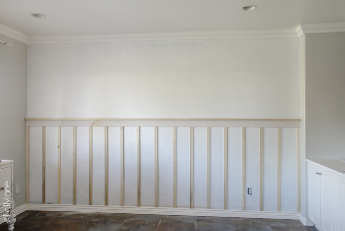 Simple board and batten tutorial that ANY skill level can conquer! #diy #boardandbatten #walltreatment #pinkwall