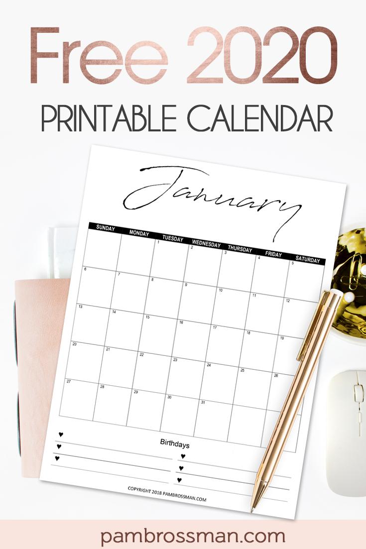 A roundup of 50+ FREE 2020 printable calendar styles! Love this motivational one! #2020calendar #freeprintable #printablecalendar