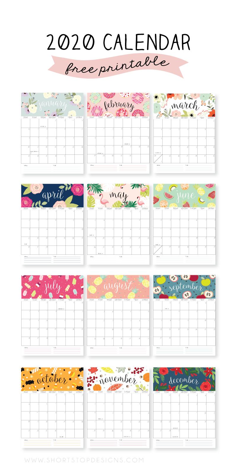 FREE Colorful Floral Style Printable 2020 Calendar PLUS a roundup of 50+ more styles! #2020calendar #freeprintable #printablecalendar