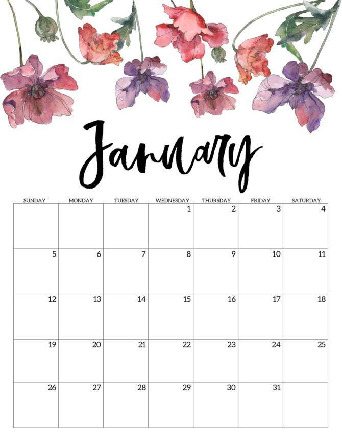 FREE Floral Style Printable 2020 Calendar PLUS a roundup of 50+ more styles! #2020calendar #freeprintable #printablecalendar