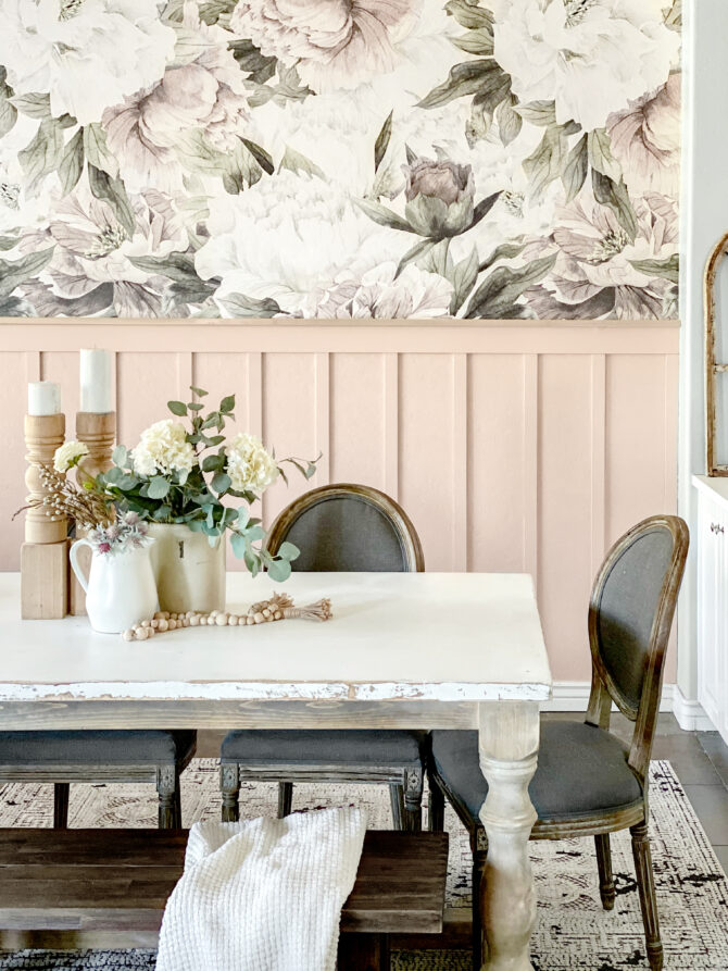 Gorgeous pink board & batten, easy how-to ahead! Get it done for $100 in one day! Installing a dreamy modern farmhouse light to showcase this space, love it! #diningroom #diningroomdecor #christmasdecor #christmasdecorations #kirklands #christmas #easydecorations
