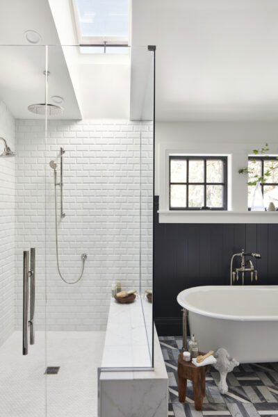 Dreamy Modern Farmhouse Style Bathroom... that subway tile/skylight combo is DREAMY! #vintage #farmhousebathroom #bathroomreno #fixerupper