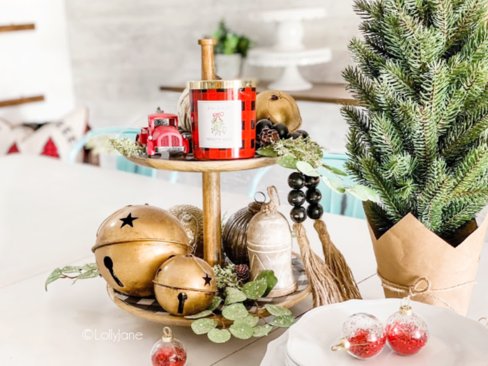 Looking for simple holiday party decor? This easy Christmas tiered tray is a breeze to put together and looks stunning! #easytieredtray #christmastieredtray #howtomakechristmastieredtray #buffalochecktieredtray #farmhousetieredtray