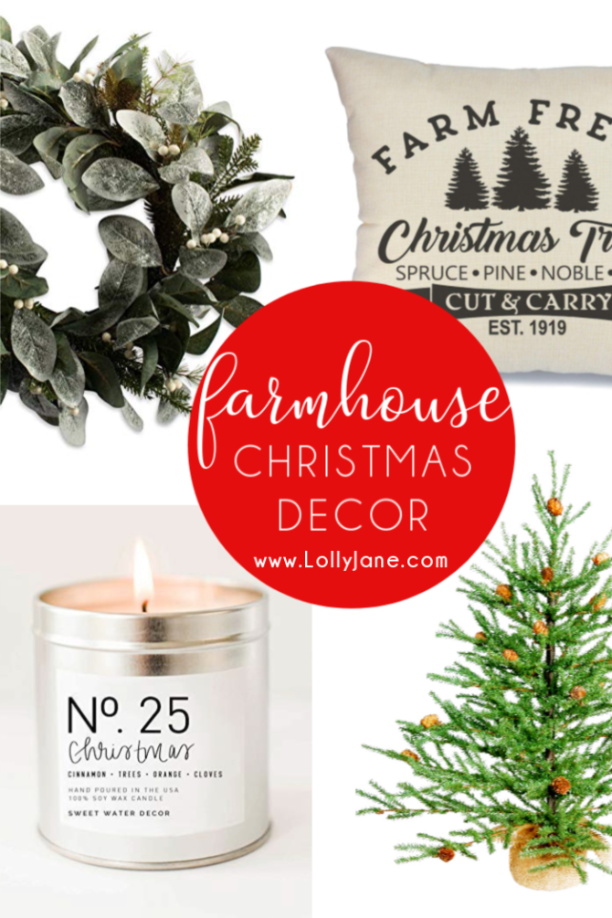 Festive farmhouse Christmas decorations you'll love! Grab these affordable farmhouse Christmas decor goods to bring coziness to your holiday season. #christmasdecor #farmhousechristmas #christmasfarmhousedecor #christmasfarmhousedecorations