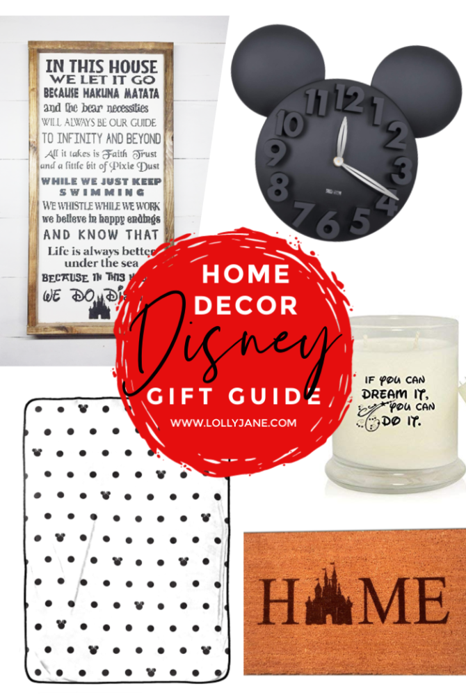 Home decor Disney gift guide ideas! Lots of creative Disney home decor ideas for the Disney lover in your life! #disneyobsessed #disneygiftguide #disneyhomedecor #disneyhomedecorideas #disneyhomedecorations