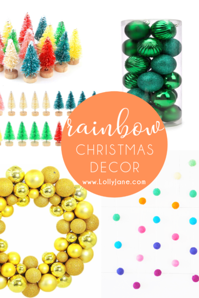 Go for bold colors this holiday season with rainbow Christmas decorations! Mix and match colors to create a vibrant Christmas season! #rainbow #rainbowChristmas #rainbowChristmasdecorations