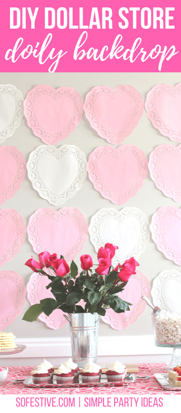 Create this DIY Dollar Store Valentines Day Doily Backdrop with doilies and gift wrap tape! Easy holiday decor at its finest! #dollarstorecraft #valentinesdaycraft #vdaydecor #doilybackdrop #valentinesdaybackdropideas