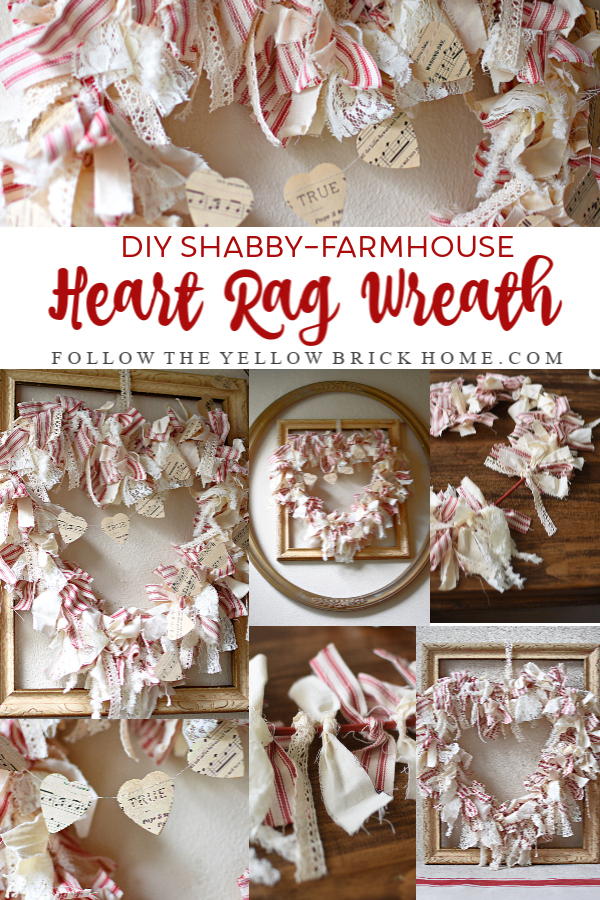 Make this Dollar Store Farmhouse Rag Wreath with scraps and book pages! Such a fun wreath to make with a little tying! #dollarstorecraft #valentinesdaydecor #easywreath #vdaywreath #wreathideas
