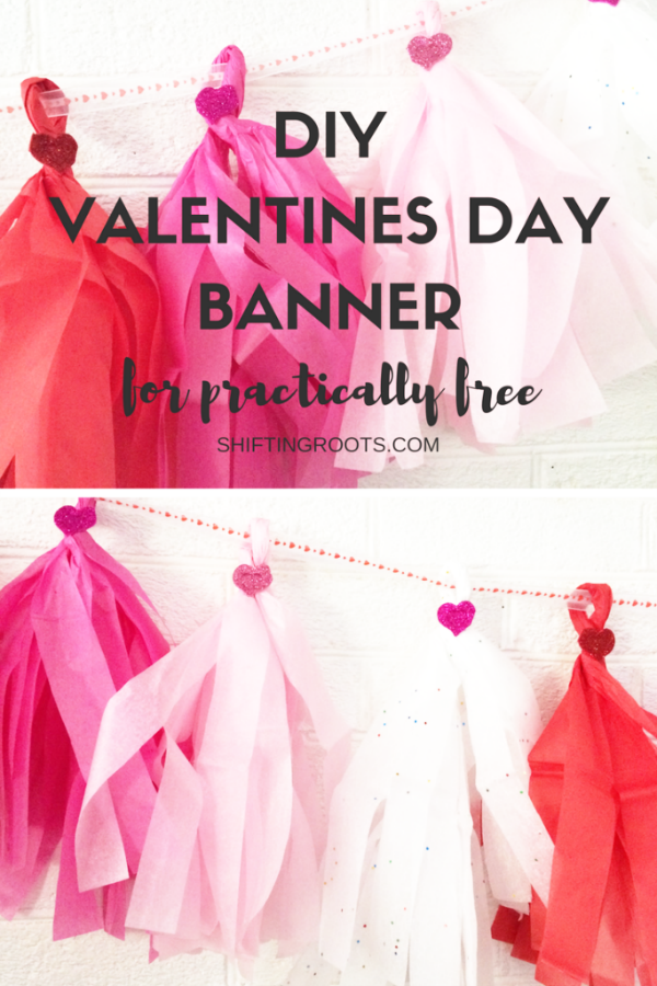 Make this easy DIY Valentines Day Dollar Store Tissue Paper Garland by cutting and twisting paper, so easy! #valentinesdaydecor #vdaydecor #dollarstorecraft