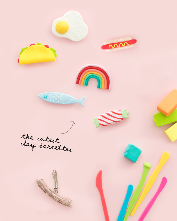 Make the cuuuutest diy hair clips made from clay. Those would make my day for a Galentines Day gift! #hadmadegalentinesdaygift #galentinesday #handmadegiftidea #giftideasforher #diy