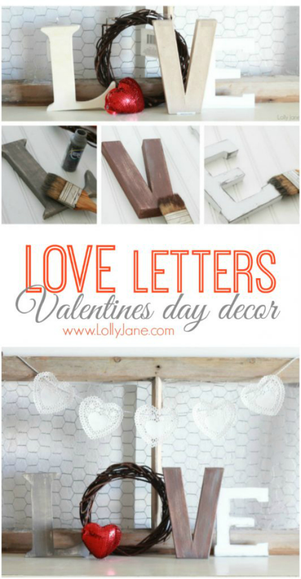 Gather mismatched letters and a red heart to easily make this DIY Dollar Store LOVE Letters! Such easy Valentines Day decor! #valentinesdaydecor #easyvdaydecor #loveletters #diyloveletters #easyvalentinesdaydecor