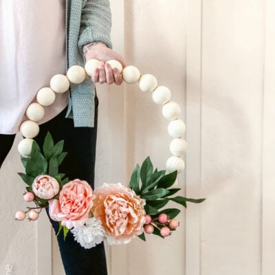 DIY Wood Bead Floral Wreath