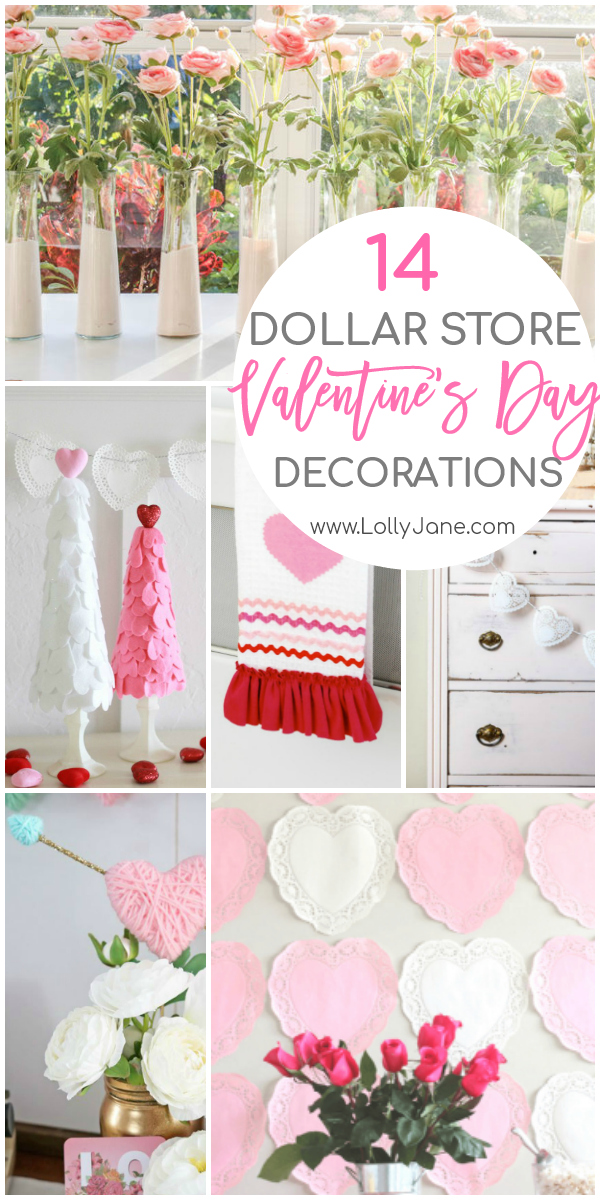 Decorate for less with these DIY Dollar Store Valentine Day decorations. From wall decor to garlands to wreaths and more, there's something for everyone! #dollarstorecraft #dollarstorevalentines #valentinedecorideas #diyvalentinesdaydecor
