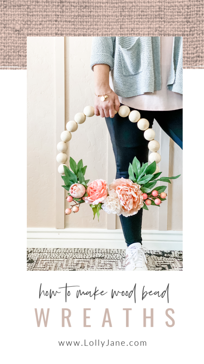 How to make wood bead wreaths with hot glue and floral wire. SO EASY! Love this easy to make wreath tutorial, so pretty! #woodbeadwreath #woodenbeadwreath #howtomakewoodwreath #woodbeadfloralwreath