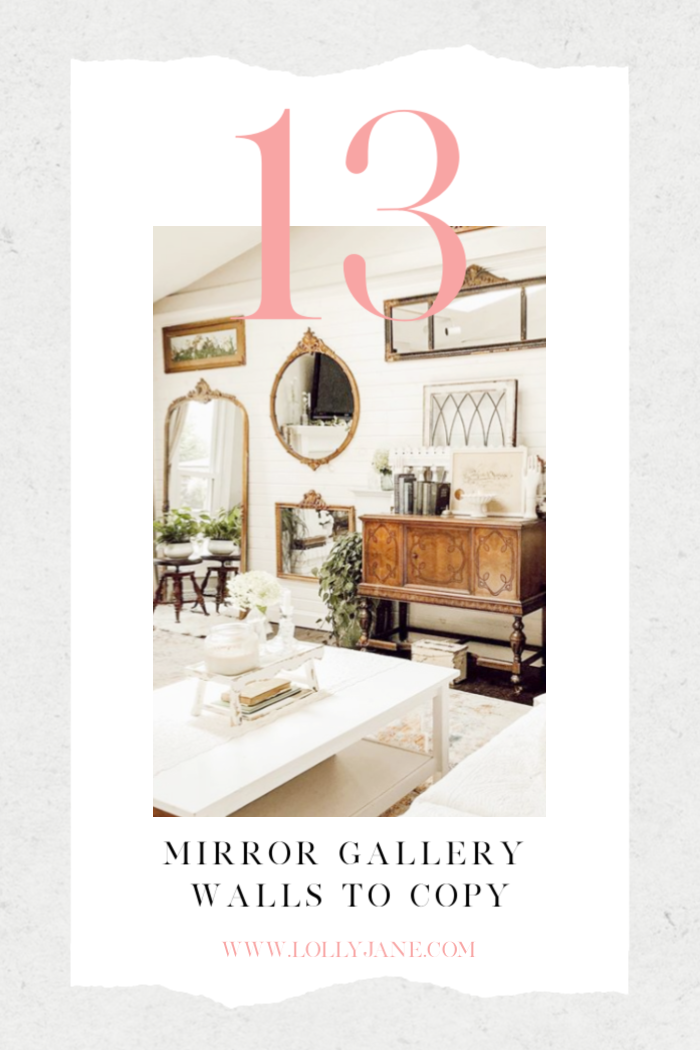 13 gorgeous mirror gallery wall ideas to copy! Gather thrifted mirrors then group them together for a gorgeous statement! #mirrorgallerywall #gallerymirrorwallideas #gallerywallideas #mirrorgallerywall #howtodecoratewithmirrors #waystodecoratewithmirrors