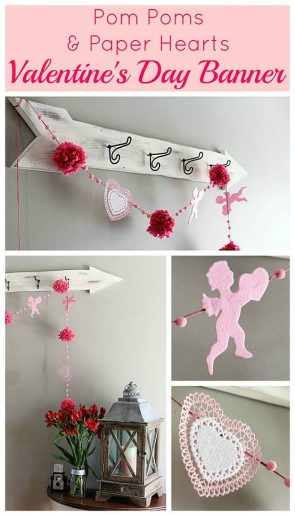 This Dollar Store Valentines Day Pom Pom Garland was made from doilies, poms and cupid himself! Grab all these supplies from a dollar store then whip out this easy Valentines Day banner, so cute! #dollarstorecraft #dollarstoreholiday #dollarstoredecor #dollarstoregarland #dollarstorebanner #valetinesday #valentinesdaycraft #valetinesdaydecor #dollarstorevaletinesday