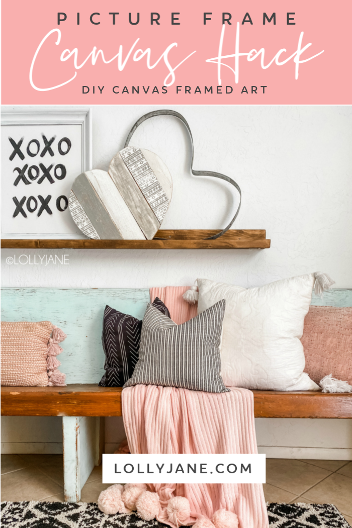Looking for an inexpensive way to frame a canvas? Check out this picture frame canvas hack to create affordable art! Cute mantel decor! #canvashack #diycanvasframe #framedcanvas #easycanvasframe #pictureframehack #thriftpictureframe