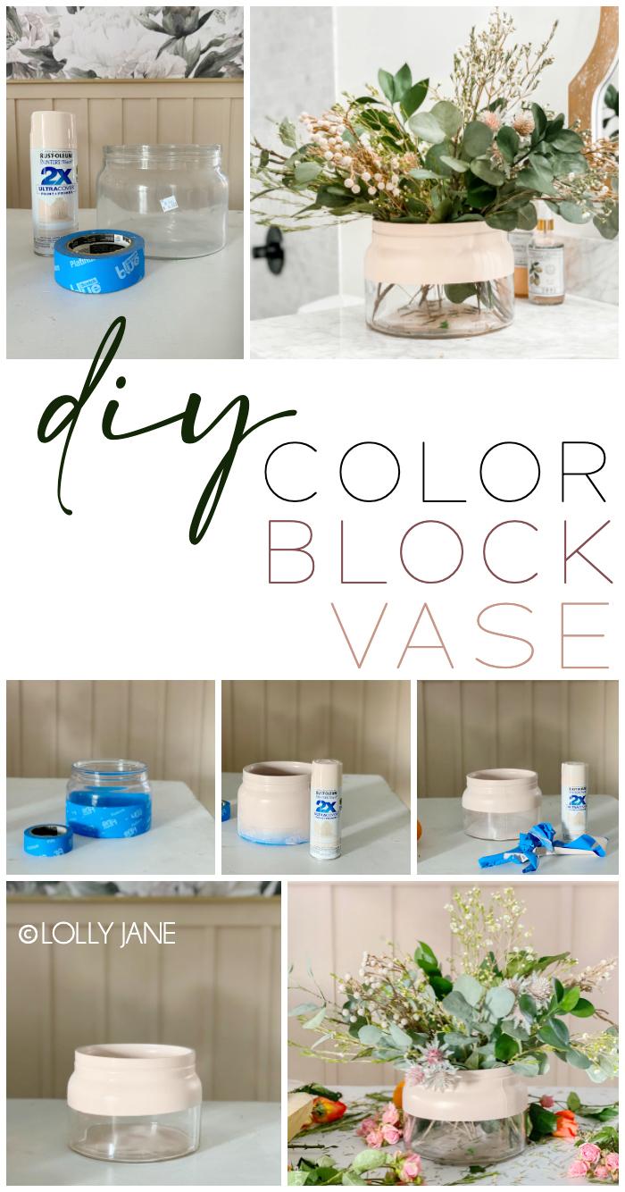 Make a Color Block Vase to add a fun pop of color to ANY space! So easy you hardly need the tutorial #diy #colorblock #colorblockvase #modernvase #modernfarmhouse #vasediy #diyhomedecor #springfloralarrangement #floralarrangement