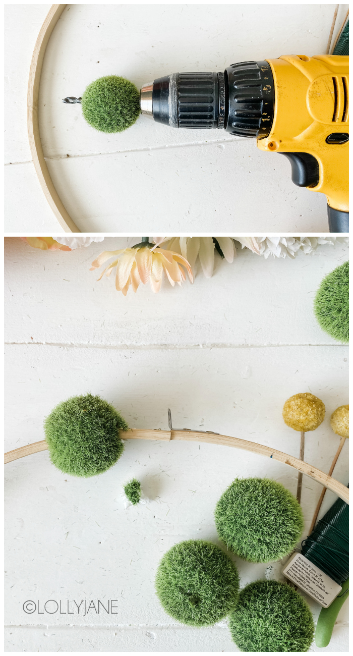 How to make a moss ball wreath tutorial. Gather a handful of supplies then follow these step by step wreath directions. Such a cute spring wreath! #floralwreath #howtomakeafloralwreath #mossballproject #howtomakespringwreath #floralwreathdiy #embroideryhoopwreath