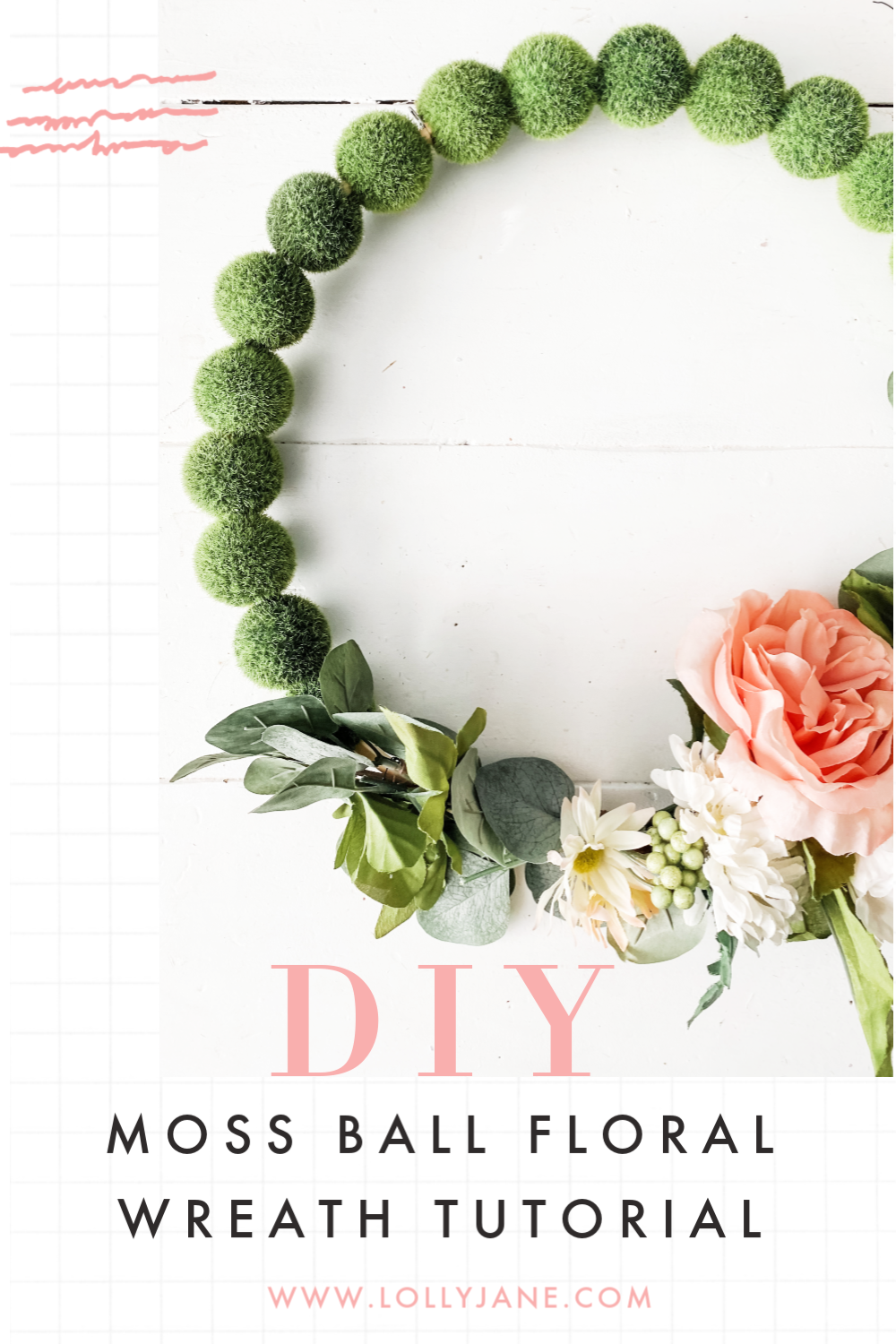 DIY moss ball wreath: such a fun spring wreath idea! This would look cute to display for easy outdoor porch decor, such a fun front door wreath. So cute to leave up all year, too! #wreath #diywreath #mossballwreath #mossballfloraldiy #outdoordecor