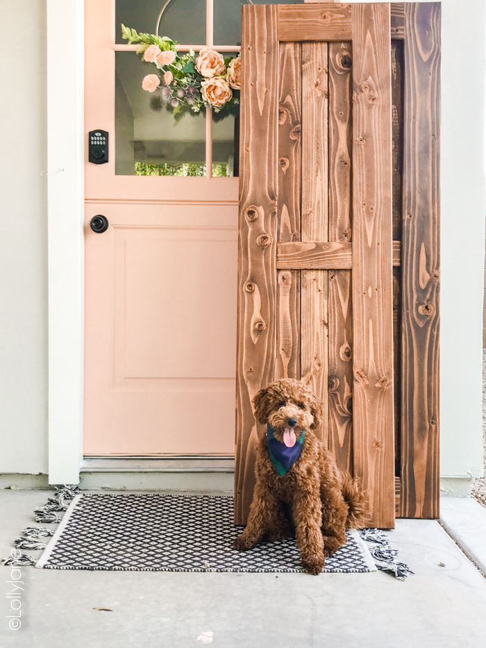 HOLY cow! Go see the amazing AFTER of this newly installed Dutch door and simple porch makeover! #diy #stencil #Dutchdoor #pinkdoor #makeover #porchdecor #porchmakeover