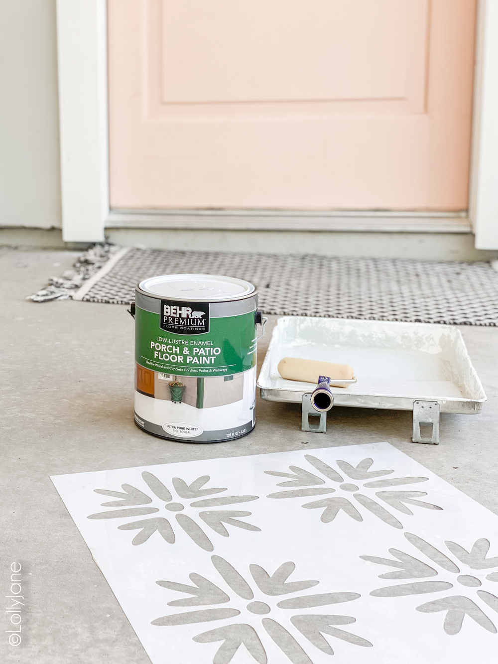"DIY Stencil, what! WOW! Check out the stunning ""AFTER"" of this easy DIY! #diy #stencil #stencilfloor #paintedconcrete #frontporch #makeover"