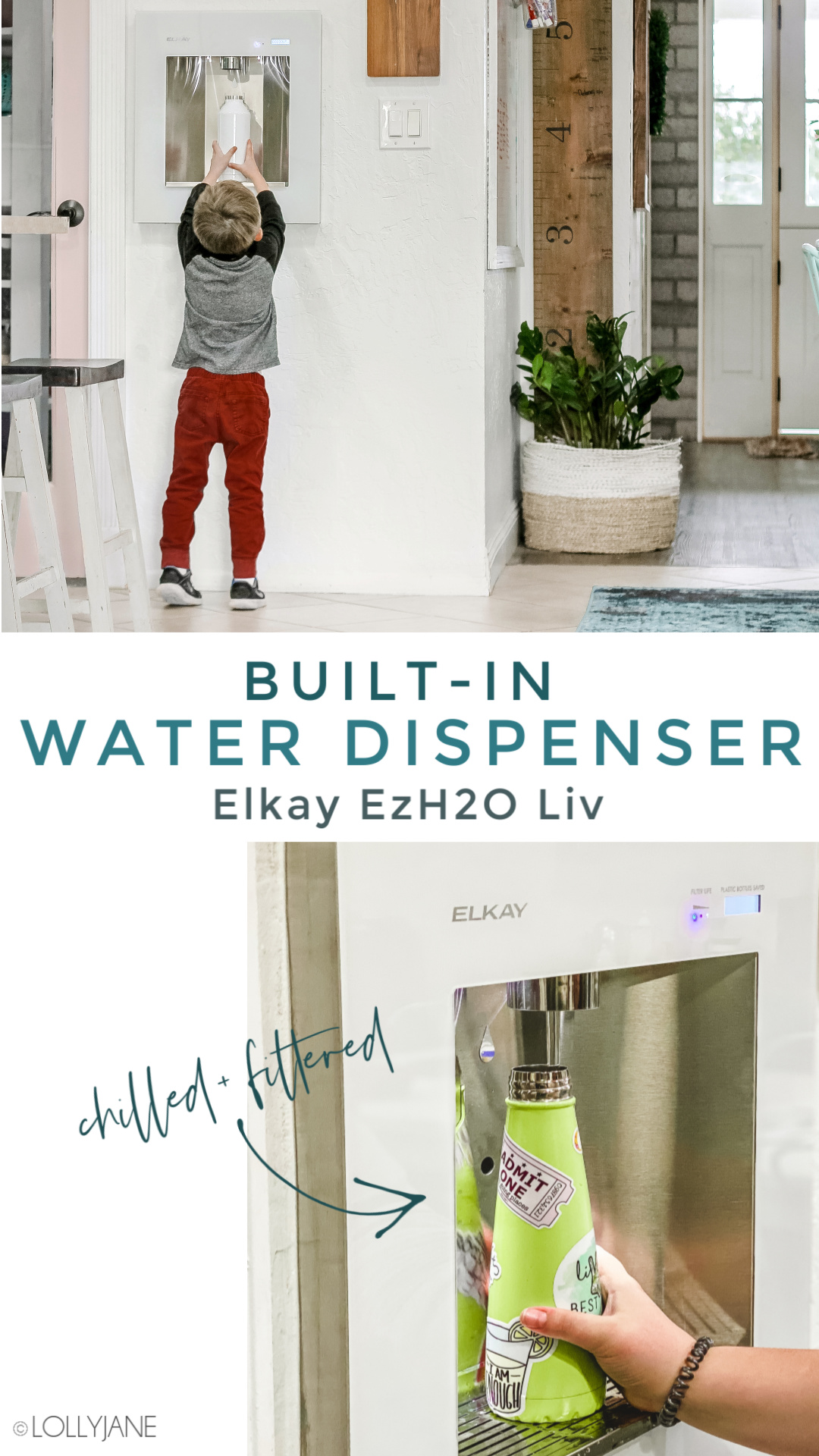 A built-in water dispenser that is kid friendly, chic, and a great reminder to DRINK YOUR WATER! You NEED the @Elkay_ USA ezH2O Liv built-in filtered water dispenser 😅💦#waterdispenser #gogreen