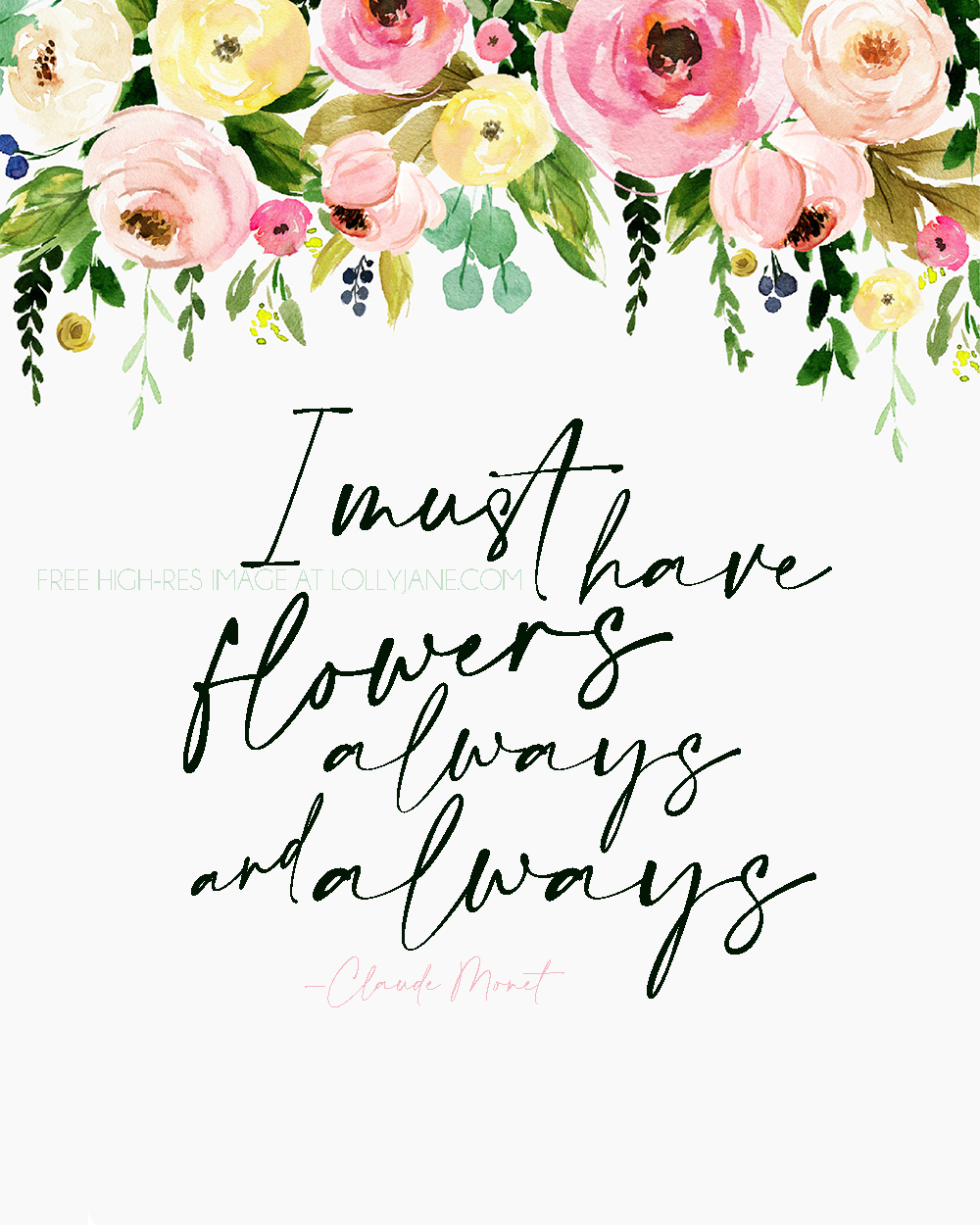 FREE Spring Floral Printable, love this quote by Claude Monet. Print this 8x10 then display for INSTANT spring decor! #freeprintable #printableart #springart #flowerart #printable #springhomedecor
