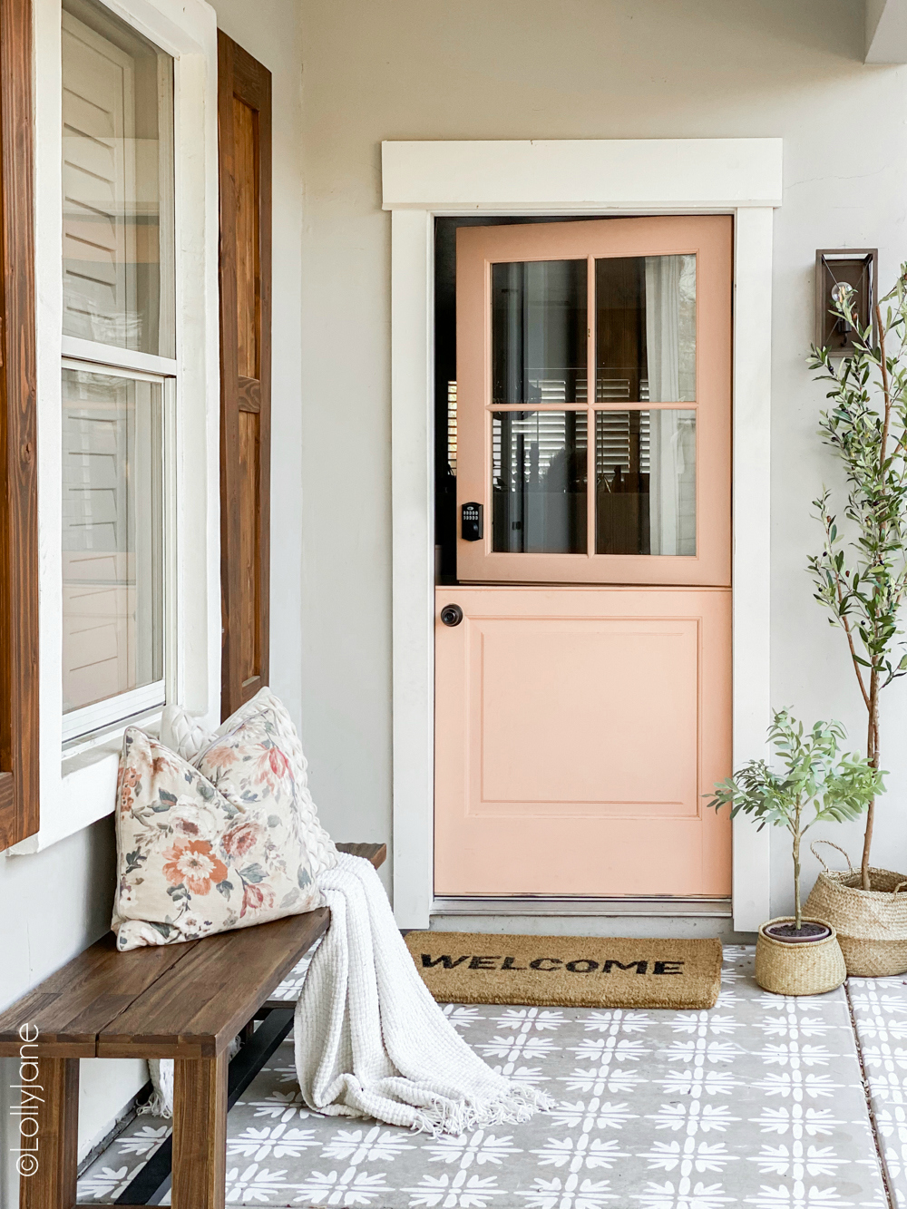 Spruce up a builder grade craftsman style home with these easy changesa DIYer of any level can do! Check out the before-- WOW! #diy #stencil #Dutchdoor #pinkdoor #makeover #porchdecor #porchmakeover