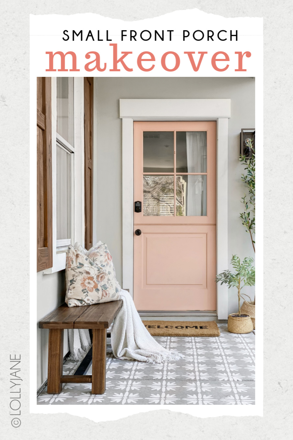 Beautiful Front Porch Makeover, check out the before-- WOW! Classic craftsman style home with a pop of pink, so good! #diy #stencil #Dutchdoor #pinkdoor #makeover #porchdecor #porchmakeover