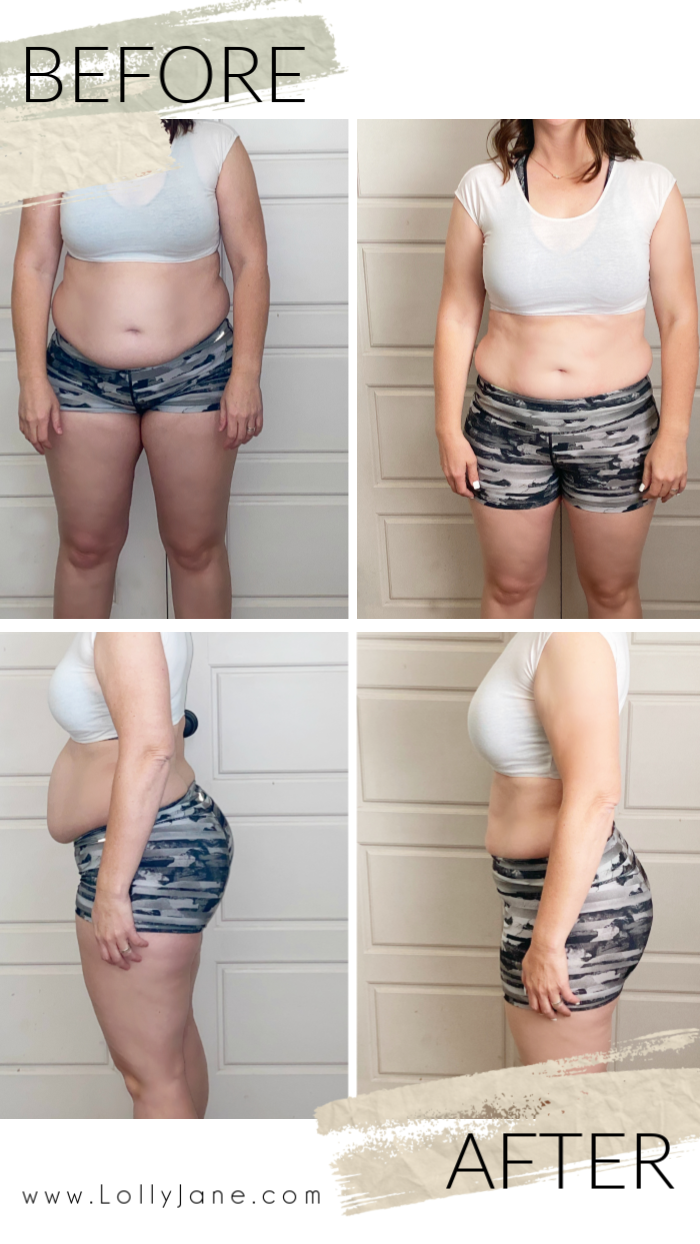 Clean Simple Eats challenge results. Such an easy meal plan to follow with challenging but doable workouts. You won't fail this easy lifestyle eating plan! #mealplanning #mealplan #easymealplan #hiitworkouts #cse #cleansimpleeats #cleansimpleeatschallenge #weightloss #weightlossbeforeafter