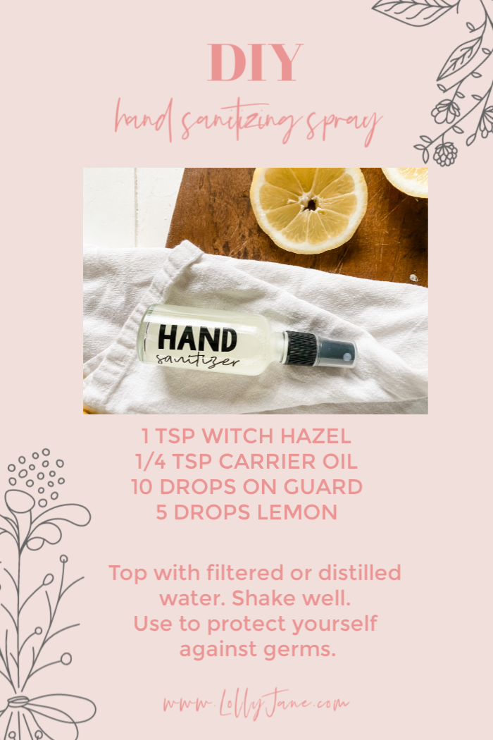 Love this DIY hand sanitizer spray recipe, all natural and non-toxic! Make this hand sanitizer to protect yourself against germs, naturally. #handsanitizerspray #easytomakehandsanitizer #noalcoholhandsanitizer #noaloegelhandsanitizer