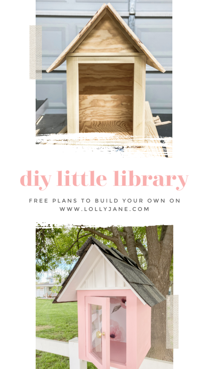 DIY Little Library FREE plans!! Such a fun way to engage with the community, love this little library to display in the front yard for a book exchange! #diy #outdoordecor #pinklibrary #libraryplans #freelittlelibrary #littlefreelibrary