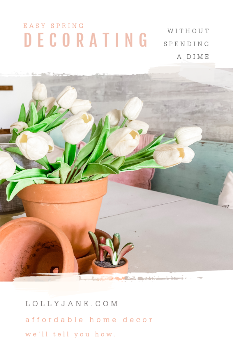 Easy spring decorating tips without spending a dime! Learn to shop your house to pull together spring decor! #springdecorating #springdecor #easyspringdecor #howtodecorateforspring