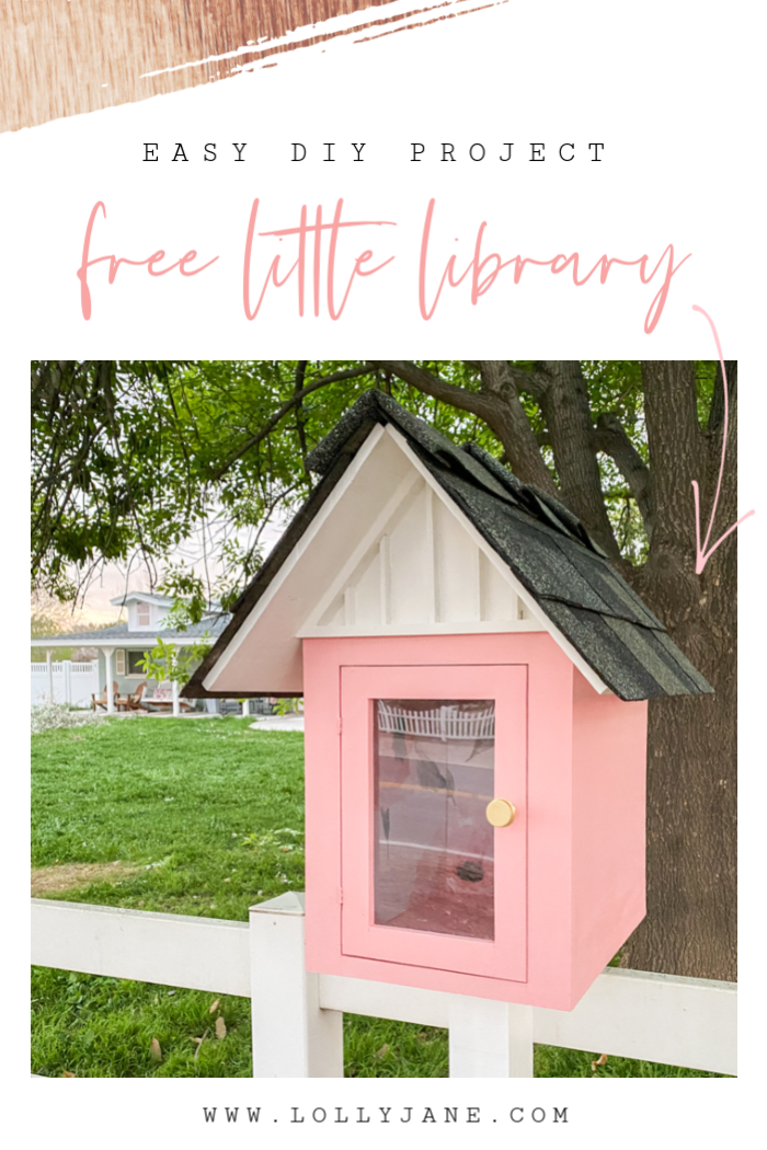 Such a fun free little library! Grab the plans to help promote reading in your community. #freelittlelibrary #littlefreelibrary #libraryplans #outdoorlibraryplans #littlelibraryideas #cutelibraryideas #pinklibrary