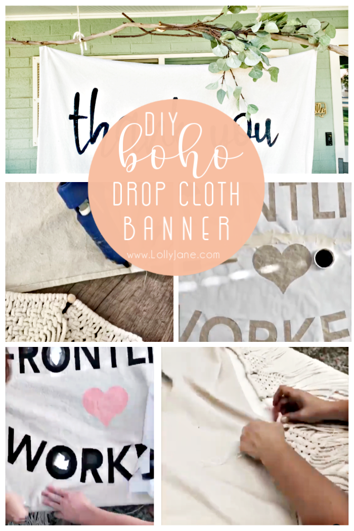 Check out this DIY boho drop cloth banner tutorial to make a big statement with a few supplies you likely have on hand. #bohodecor #dropclothbanner #dropclothtutorial #bohobannerdiy #diydropclothbanner #howtomakeadropclothbanner