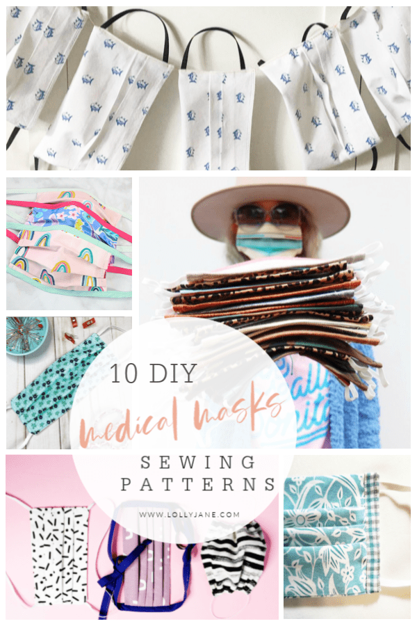 10 DIY medical masks sewing patterns. Use this patterns to use for surgical masks, reusable fabric face masks, to protect you from dirt while working outside or with wood, lots of options for your personal needs. #diyfacemasks #howtosewfacemasks #sewingpatternsforfacemasks