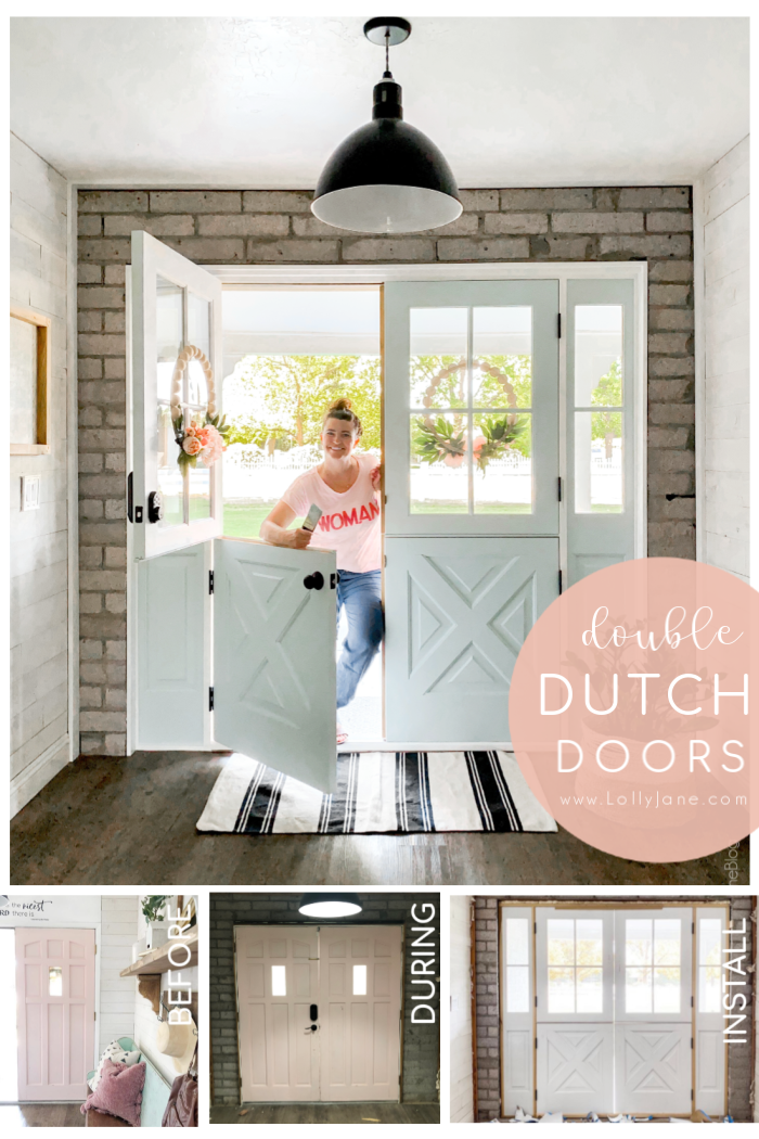Gorgeous exterior farmhouse double dutch doors, so pretty and allows for natural light. Love the ability to open the top for airflow and adore the farmhouse charm. #doubledoors #doubledutchdoors #exteriordoors #farmhousedoors #farmhousedoubledutchdoors