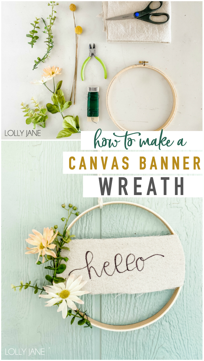 Make this EASY canvas banner hoop wreath in less than 20 minutes! Perfect to display year round or to bring in some spring cheer! #handmadewreath #diywreath  #canvasbanner #diyhomedecor #homedecor #easytomakewreath