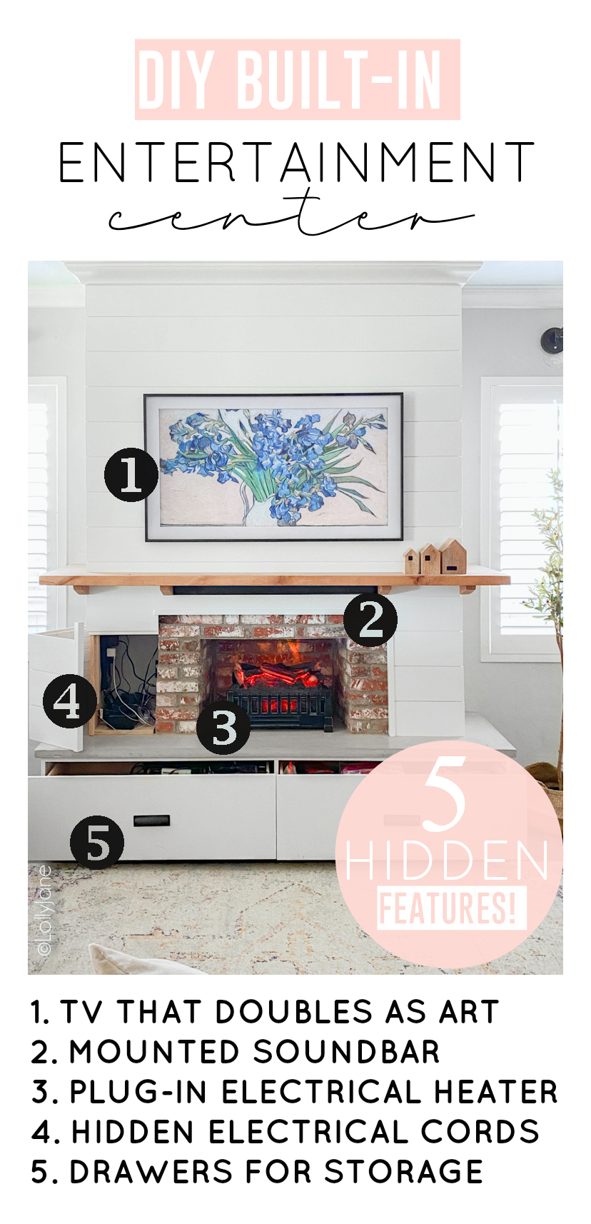 5 secret built-in features to this beautiful Modern Farmhouse Home Entertainment Center built from scratch-- see how it was done! #modernfarmhouse #fauxfireplace #entertainmentsystem #diy #diyhomedecor