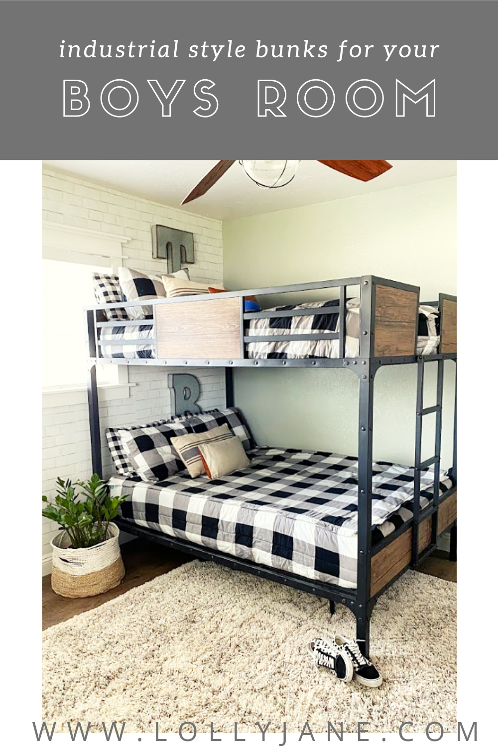 Industrial style bunk beds for your boys shared bedroom. Sturdy and stylish! #boysroom #sharedboysroom #bunkbedforboys #industrialbunkbeds