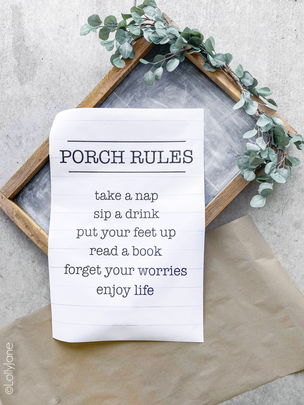 "How to easily frame a poster print in 3 steps! So EASY and cute, (plus snag this FREE printable ""Porch Rules"" art!) #freeprintable #printable #printableart #porchdecor #porchhomedecor #backyardliving"