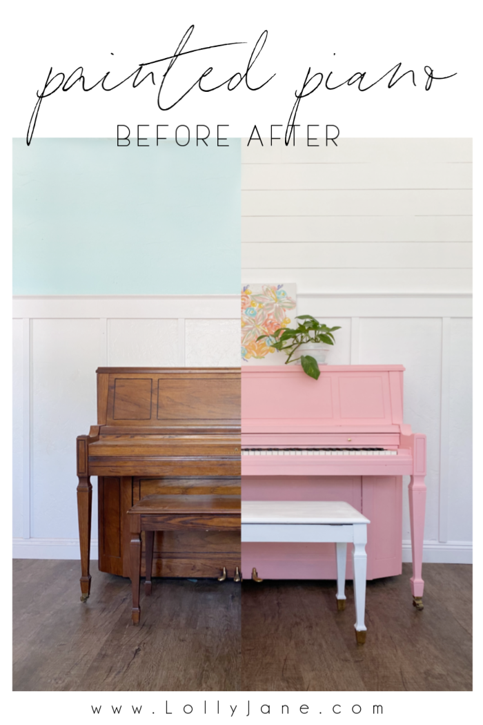 How to paint a piano with a little paint and a couple hours. SO EASY! No fancy tools, no talent needed..just follow these quick steps for an easy painted piano tutorial. #howtopaintpiano #paintedpiano #paintedpianotutorial #pinkpiano #paintedpianoidea