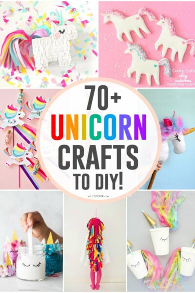 The ULTIMATE list of DIY Unicorn Crafts! Over 70 Project ideas for parties, boredom busters, and more! #unicorn #unicorndiy #unicorncrafts #kidsdiy #diycraft