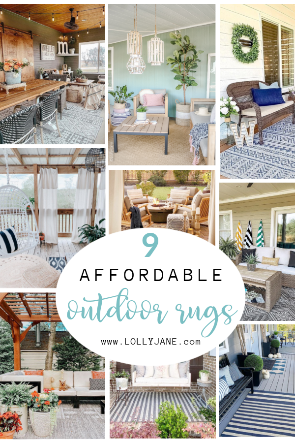 9 affordable outdoor rugs to cozy up any porch! BONUS: 55% off discount code!! #outdoorrugs #affordableoutdoorrug #porchrug #porchrugideas #rugdiscountcode #cheaprug #boutiquerugcode