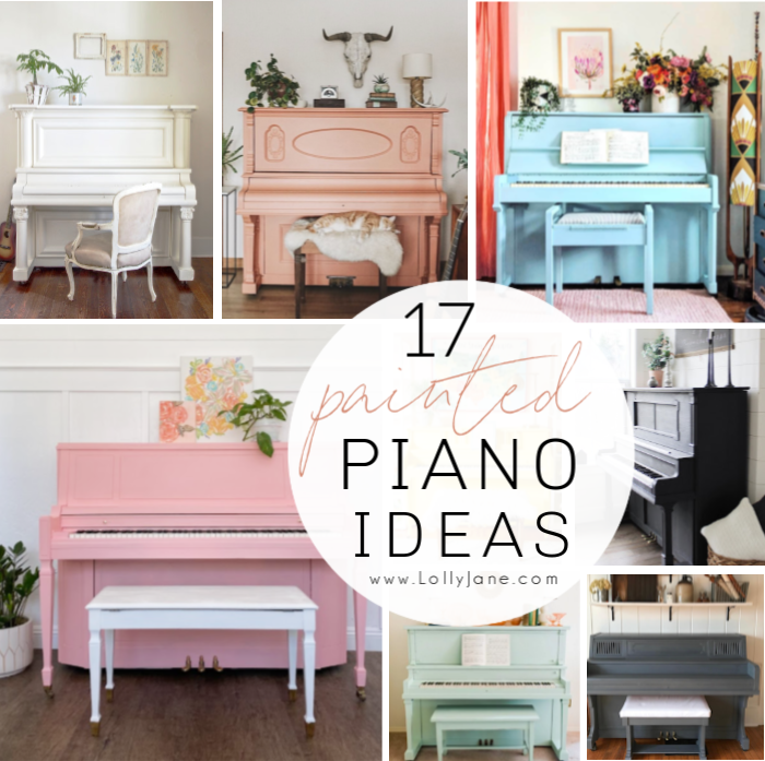 If you're looking for painted piano color ideas, we've got 17 beautiful pianos to inspire! #paintedpiano #colorfulpianoideas #paintedpianoinspiration