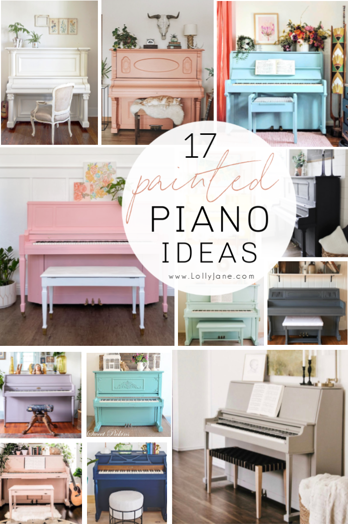 Here are 17 stunning painted pianos in all colors, so pretty! Lots of inspiration if you're looking to paint a piano to match your own decor. #paintedpiano #paintedpianoideas #colorfulpaintedpiano #colorfulpaintedpianos