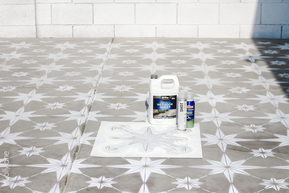 Painting concrete is an affordable way to spruce up and give texture to an otherwise boring surface! #spraypaint #stencil #paintedfloors #diy