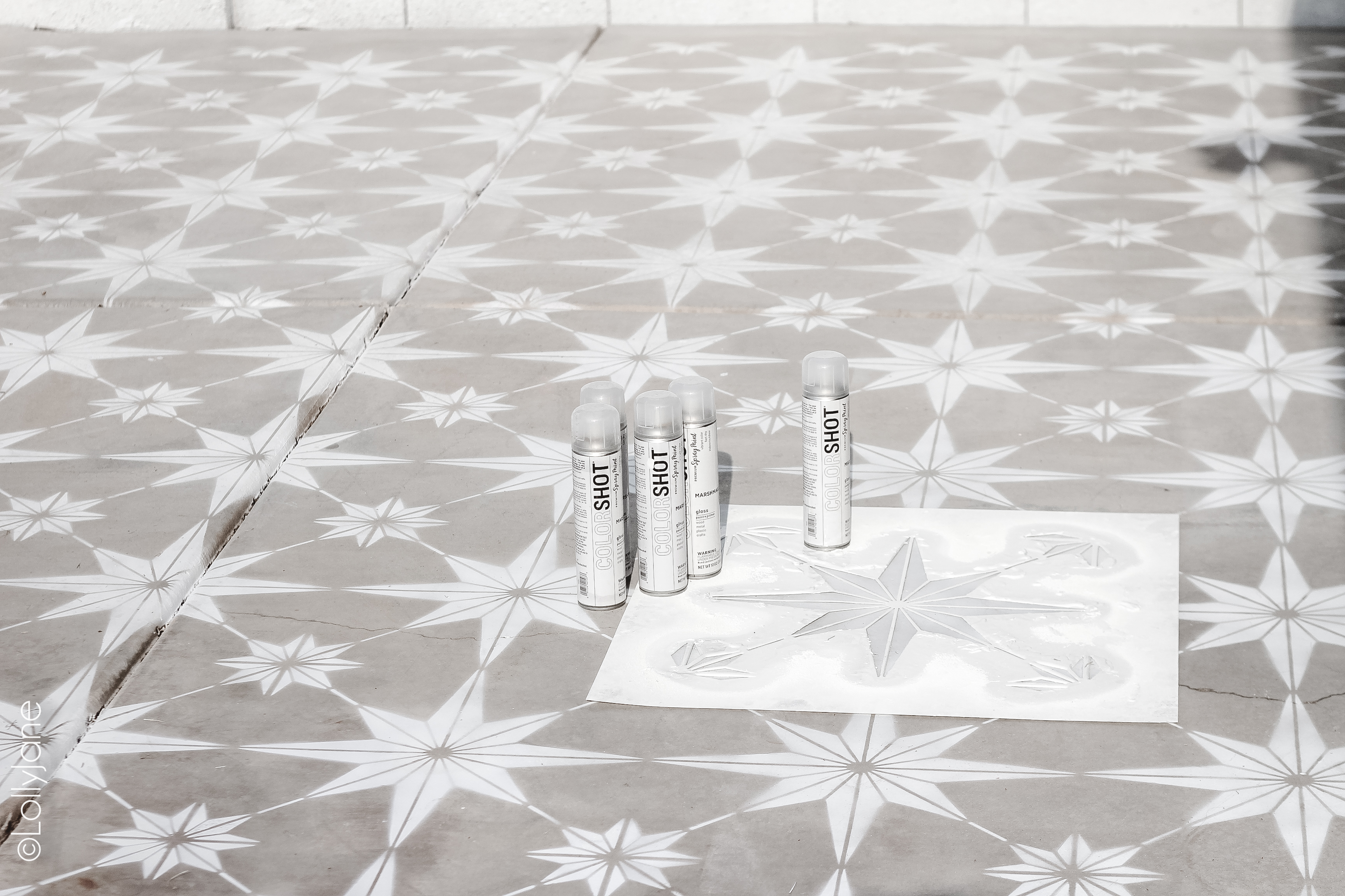 Spray paint a fun pattern on boring concrete! DIY Stenciled Concrete, great tips to SPRAY PAINT an otherwise boring surface! #spraypaint #stencil #paintedfloors #diy